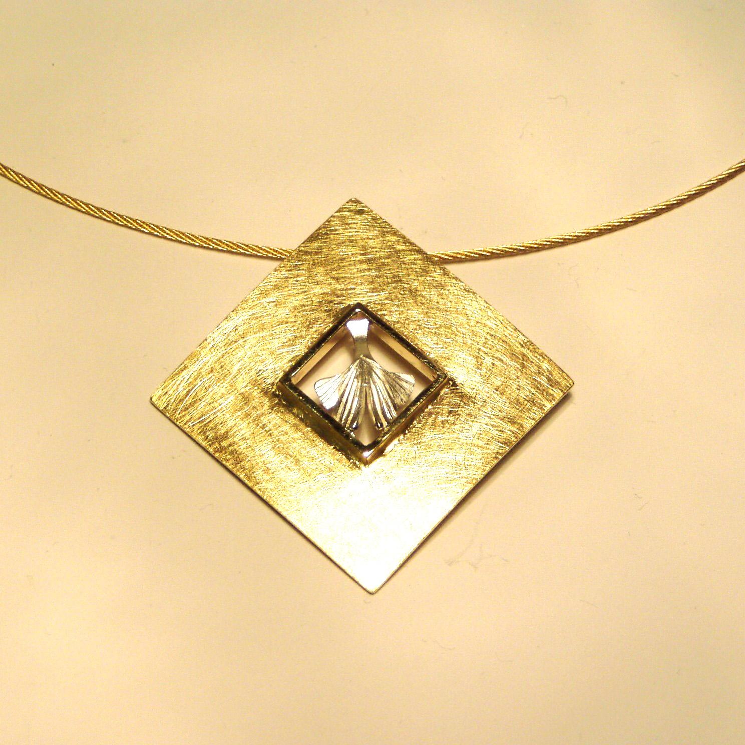 Anhänger Ginkgoblatt Gold 750