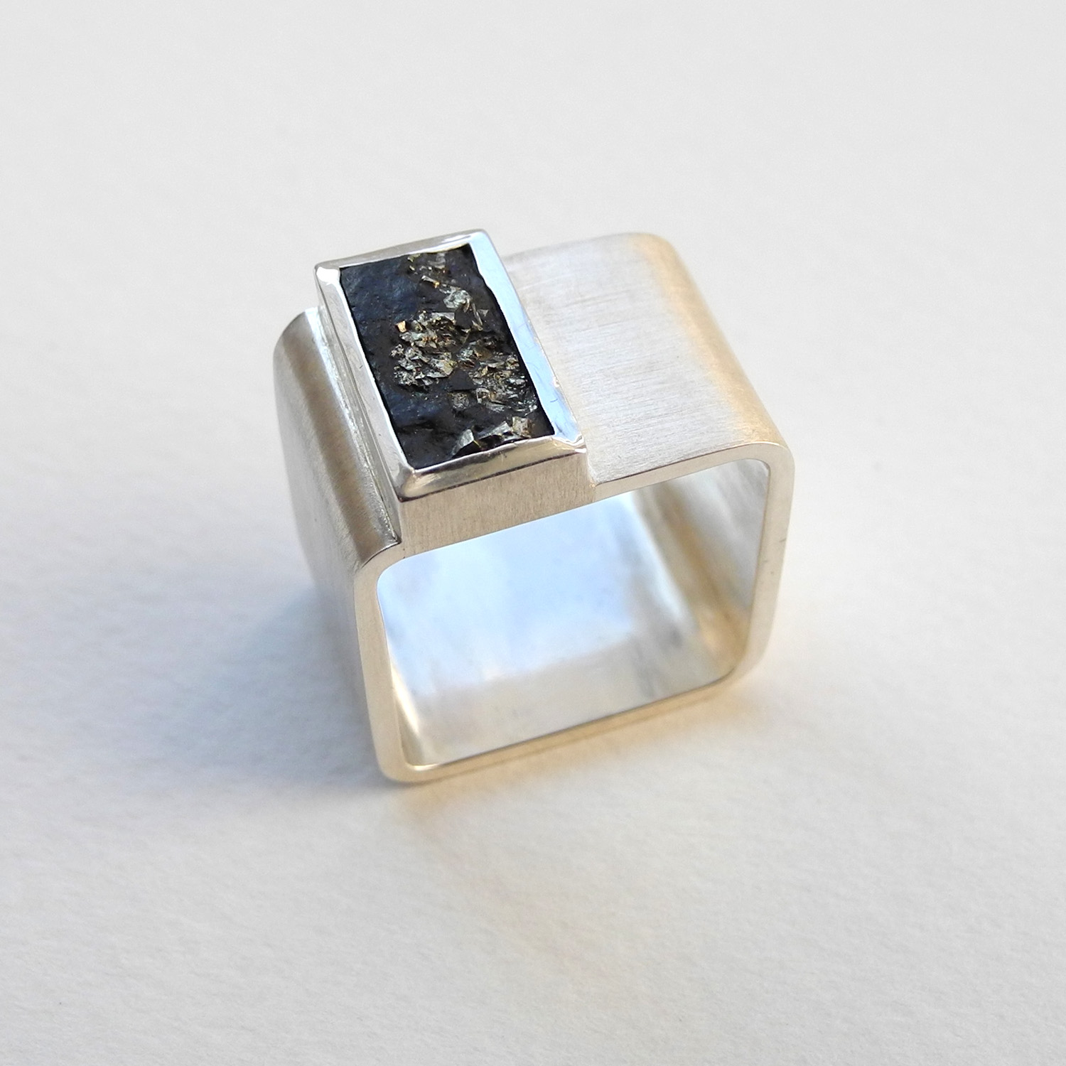 Herrenring Sterlingsilber Schiefer