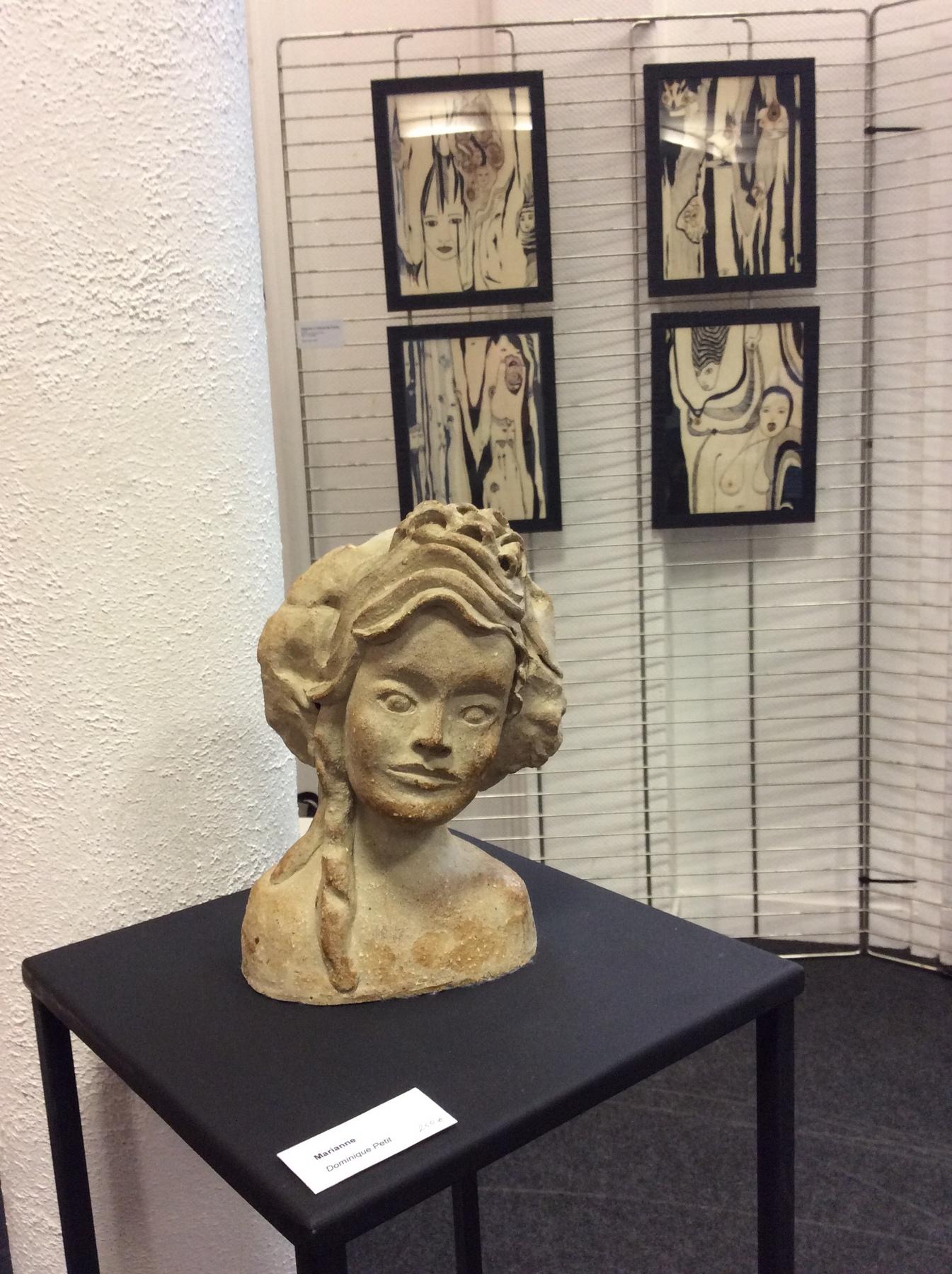 """Ma sculpture """" Marianne"""" et mes dessins à l'encre de Chine"""