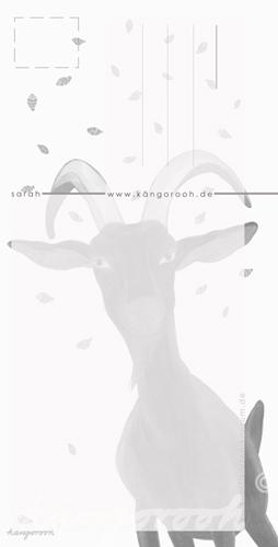 Postkarte Rückseite: ziege sarah / kängorooh / 2018