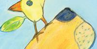 Postkarte Detail: Löwe mit Voge / kängorooh / 2015