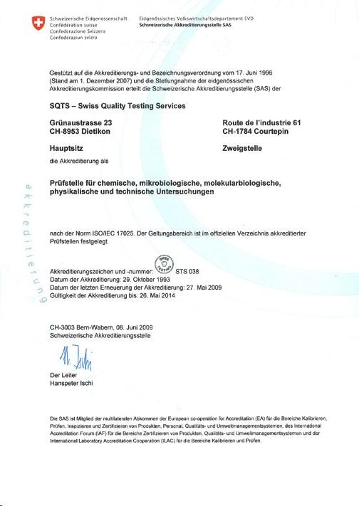Nachweis der Akkreditierung durch die Schweizerische Akkreditierungsstelle SAS