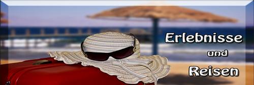 Koffer mit Sonnenhut und Sonnenbrille vor Strandkulisse-Button zum Reisebericht Asien