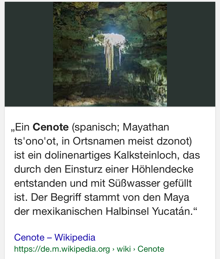 """Glückwunsch an alle, die mit der Aussage """"dolinenartiges Kalksteinloch"""" was anfangen können... Danke, Wikipedia!!!11!"""