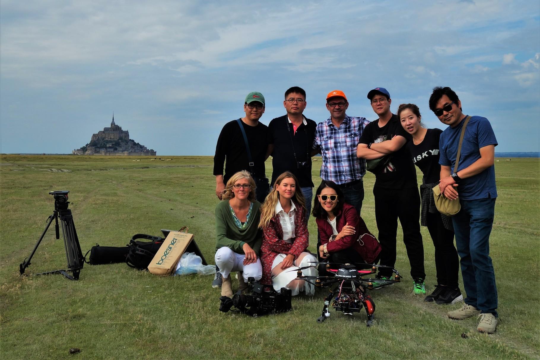 Sylvain Corbin en avec l'équipe de tournage