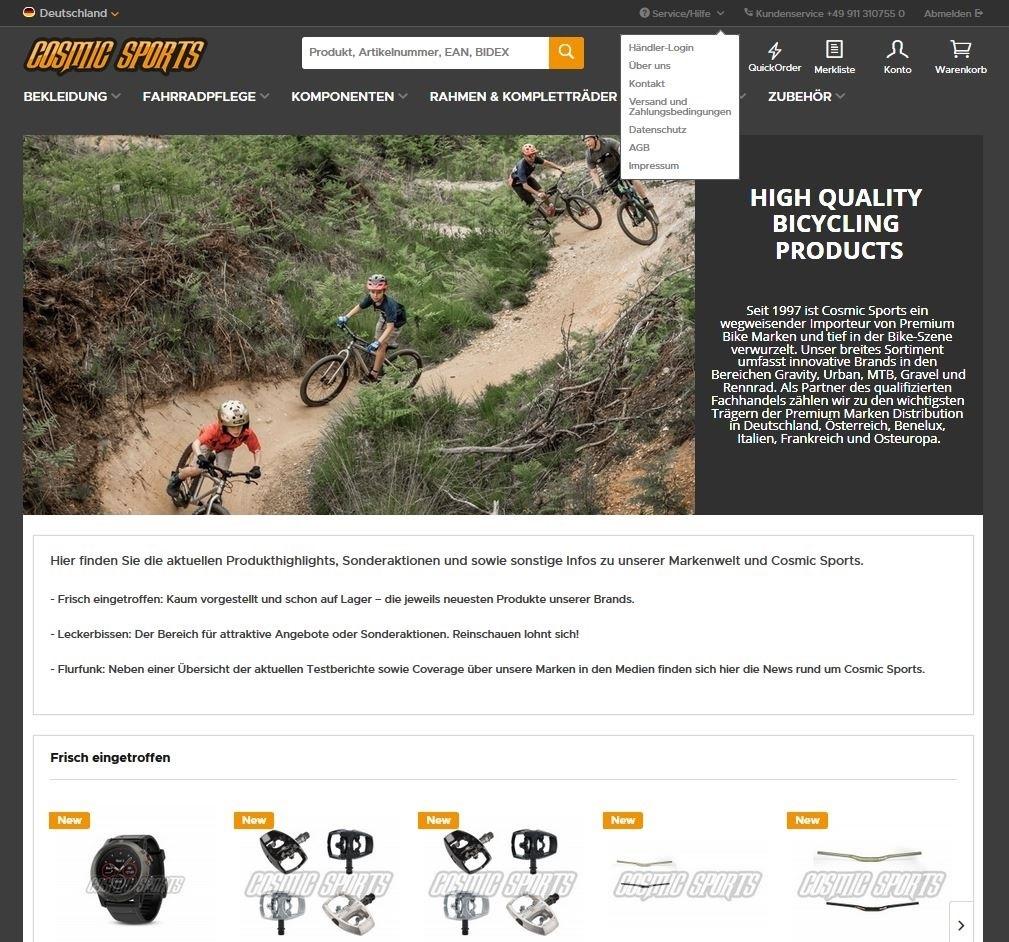 Cosmic Sports relauncht B2B Online-Shop