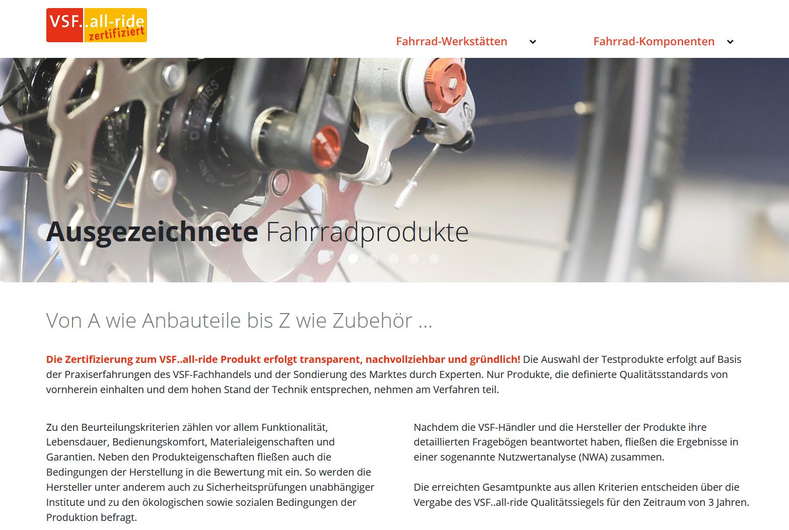 VSF 'all-ride' Qualitätssiegel mit neuer Website