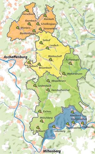 Ladestationen im Spessart, Karte: J.Jung