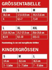 Eine Übersicht der verfügbaren Größen für Fahrradhandschuhe.