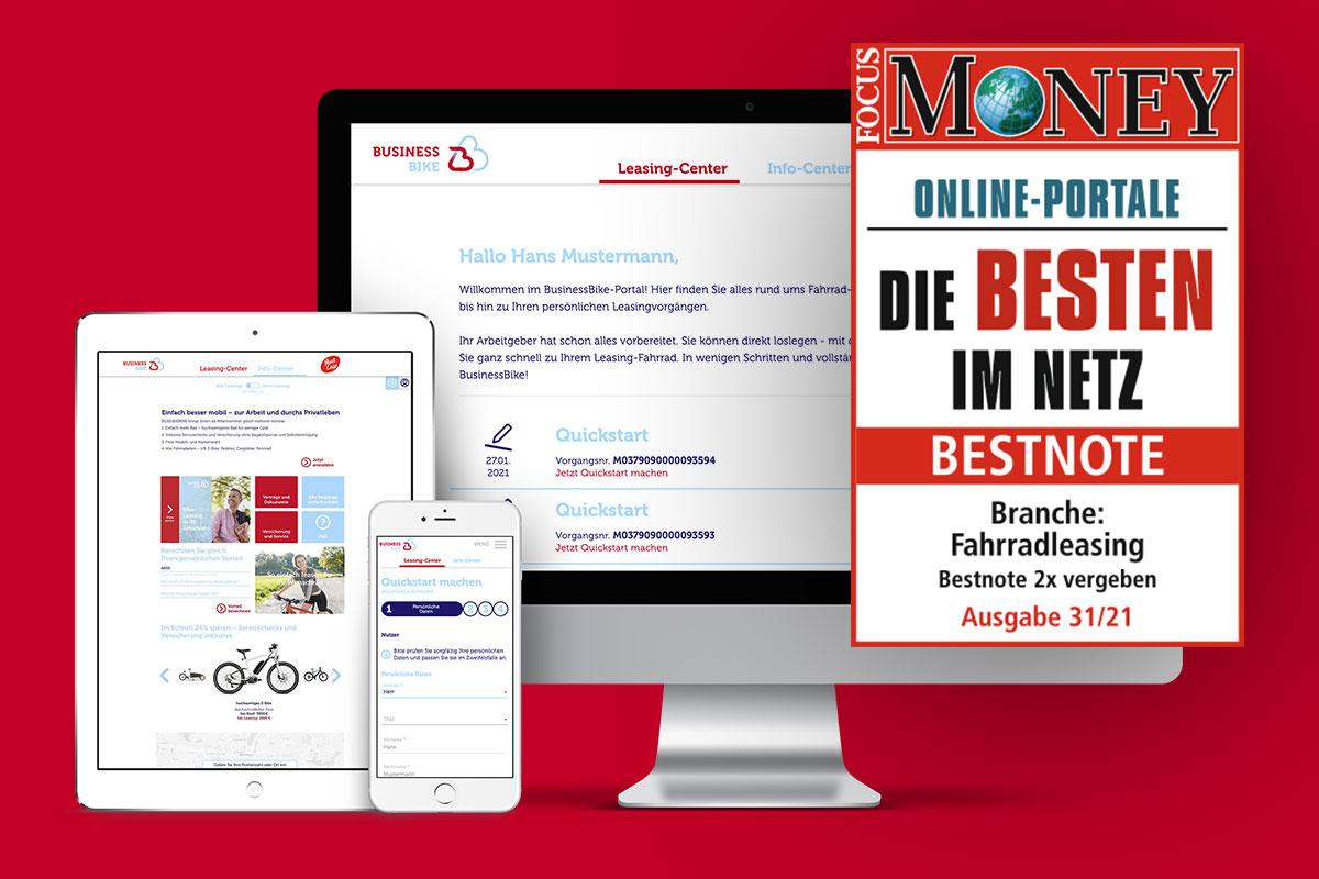 """BusinessBike erhält Focus-Money Auszeichnung """"Die Besten im Netz"""""""