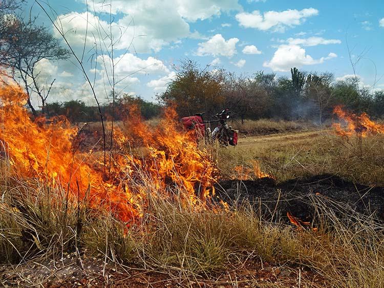Nach langer Wassersuche findet er kein Dorf mit Brunnen, sondern nur einen wilden Buschbrand- Uganda / Foto: Anselm Pahnke