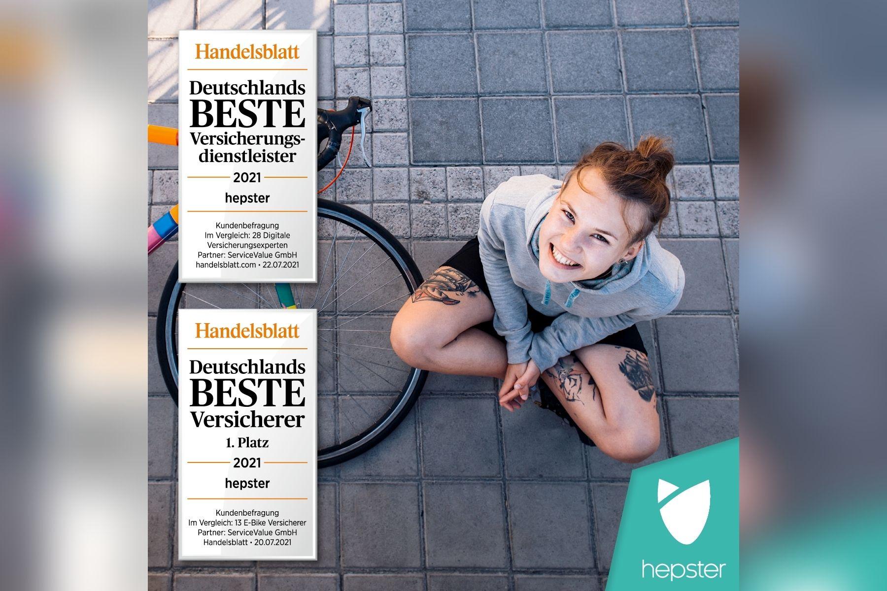"hepster erzielt 1. Platz als ""E-Bike-Versicherer"" bei Handelsblatt und Service Value"