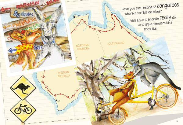 Zwei Kängurus radeln durch Australien: Liebevoll gestaltetes Buch (nicht nur) für Kinder