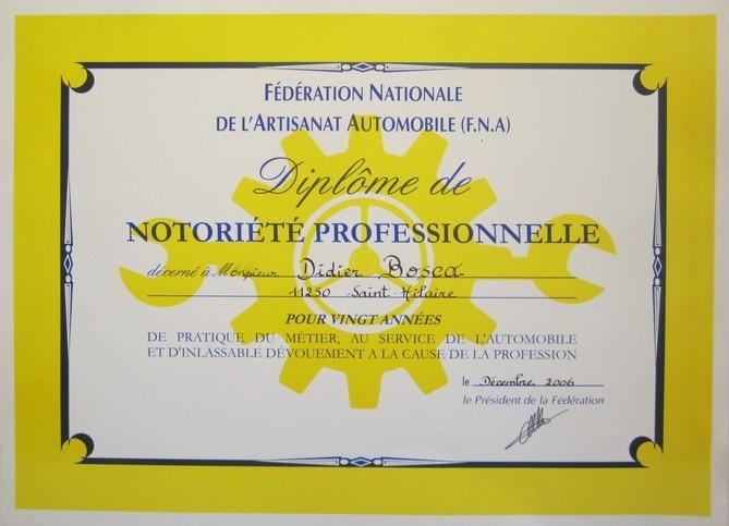 Diplôme de Notoriété Professionnelle décerné à Didier Bosca