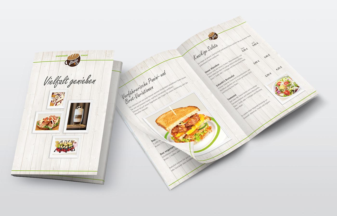 Frühstückskarte, Stadtbäckerei Schacht