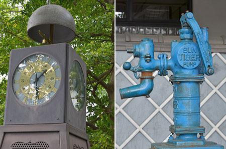 谷中小学校のレトロな時計とポンプ