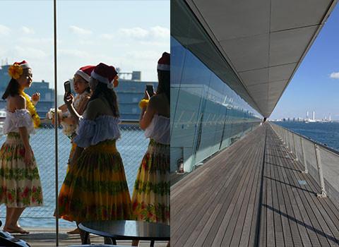 大桟橋のデッキで自撮りする若手ダンスチーム。