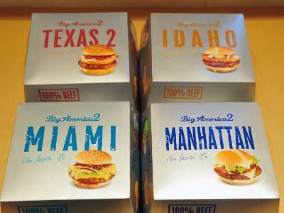 今回は米国の都市の名前を付けた「テキサス2バーガー」「アイダホバーガー」「マイアミバーガー」「マンハッタンバーガー」の4種類