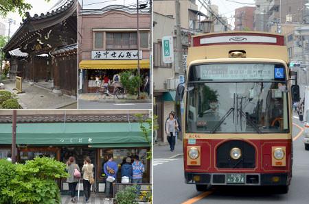 神社がやたら多いのが谷根千の特徴。観光用にシャトルバス「めぐりん」が周回しています。