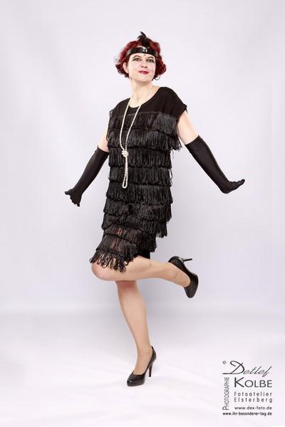 kleid schwarz fransen 20er stil i handmade vintage mode mode atelier klennes