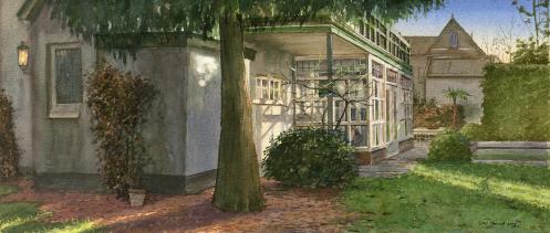 Opdracht Huisportret Baarn. Aquarel. 25 x 42
