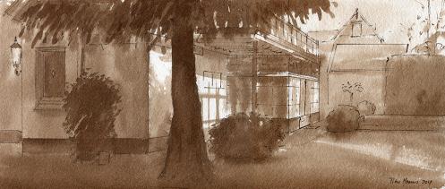 Vooerschets Huisportret Baarn. Inkt op papier. 20 x 35 cm