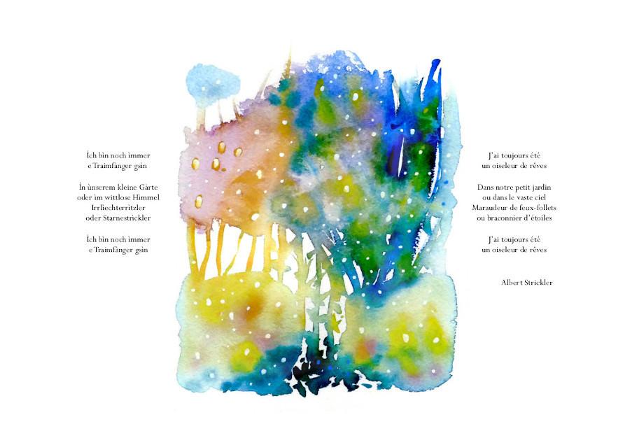 Himmelsgàrte-Jardins célestes, aquarelles Sylvie Lander, poème Albert Stricler, Éditions Lire Objet, 2020 ©sylvie lander