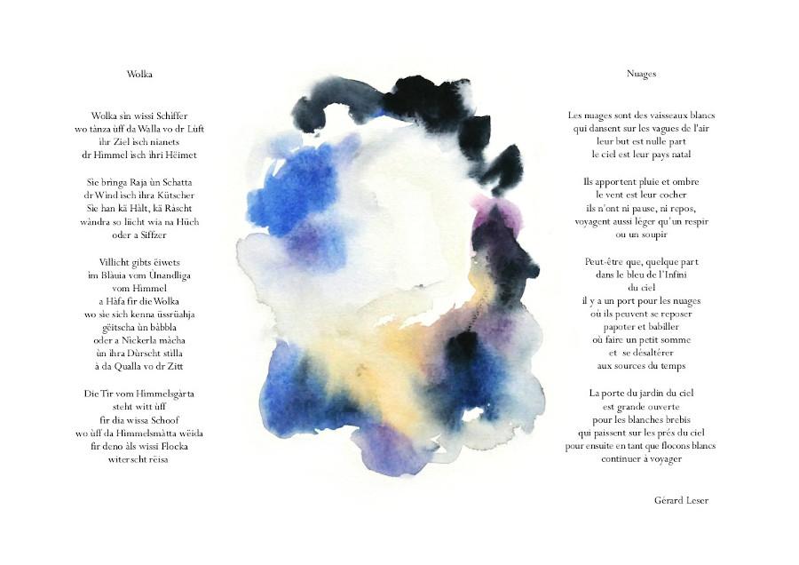 Himmelsgàrte-Jardins célestes, aquarelles Sylvie Lander, poème Gérard Leser, Éditions Lire Objet, 2020 ©sylvie lander