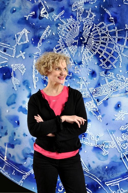 Sylvie Lander-portrait-peinture-tondo -de-verre-peintre/ #SylvieLander