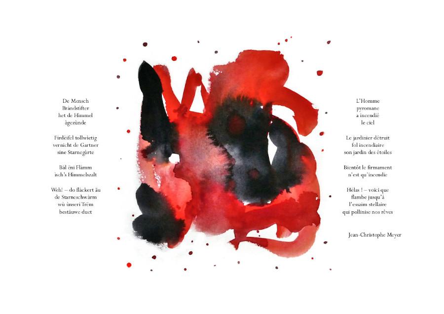 Himmelsgàrte-Jardins célestes, aquarelles Sylvie Lander, poème Jean-Christophe Meyer, Éditions Lire Objet, 2020 ©sylvie lander