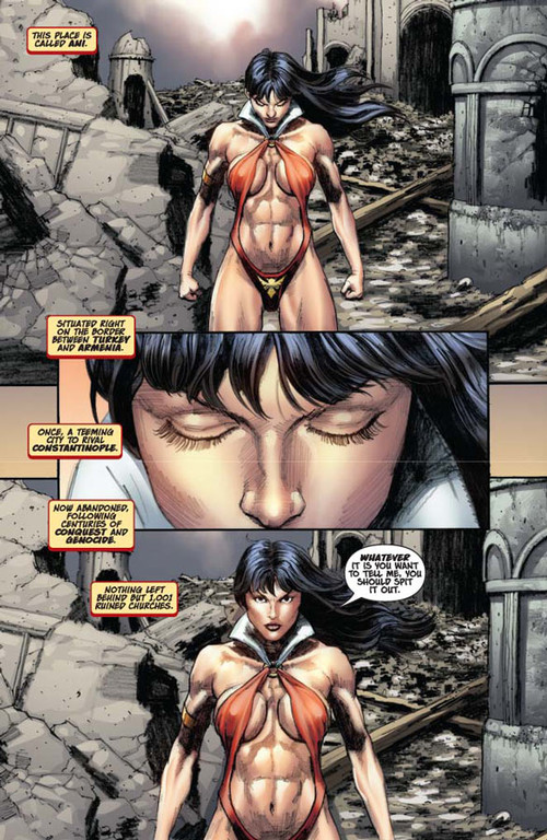 Vampirella #14 -- page 1 (script: Trautmann / art: Berkenkotter)