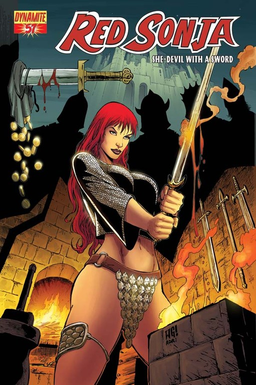 Red Sonja #57 cover by Walter Geovani
