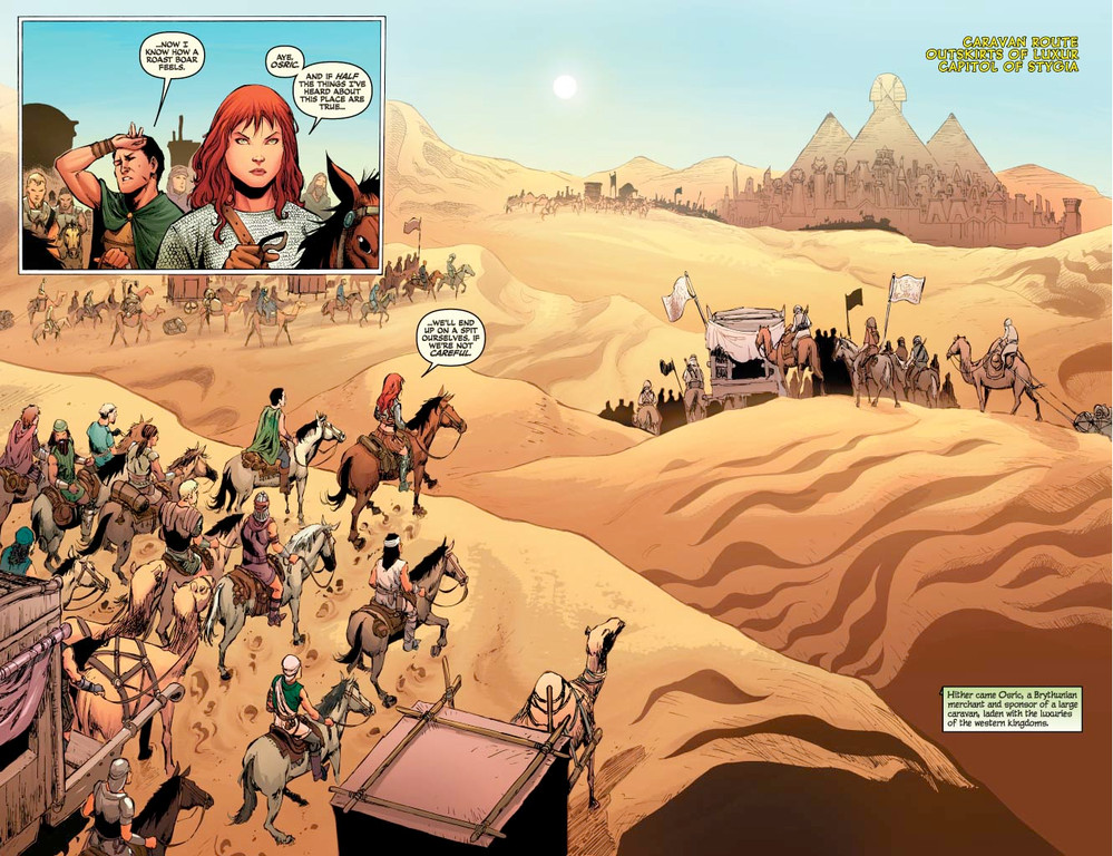 Red Sonja #61 - pages 2-3 (script: Trautmann / art: Geovani)