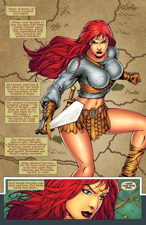 Red Sonja #56 page 1 (Script: Trautmann / Art: Salonga)