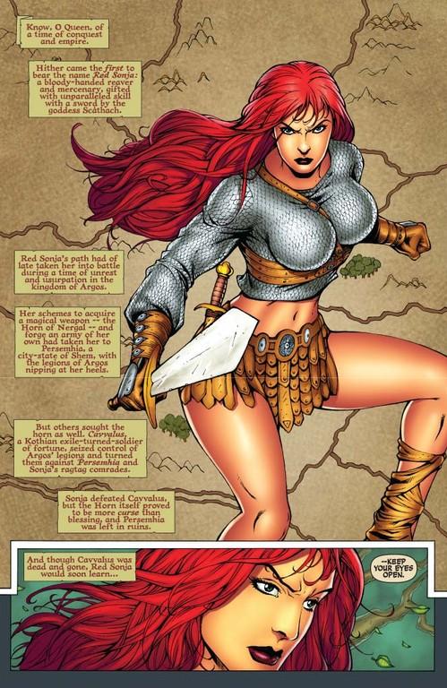 Red Sonja #56 page 1 (Script: Trautmann / Art: Salonga)