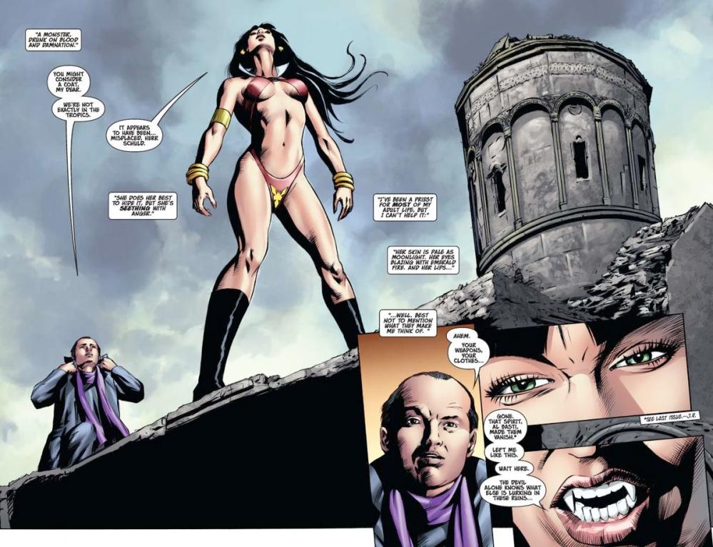Vampirella #15 -- pages 2-3 (script: Trautmann / art: Malaga)