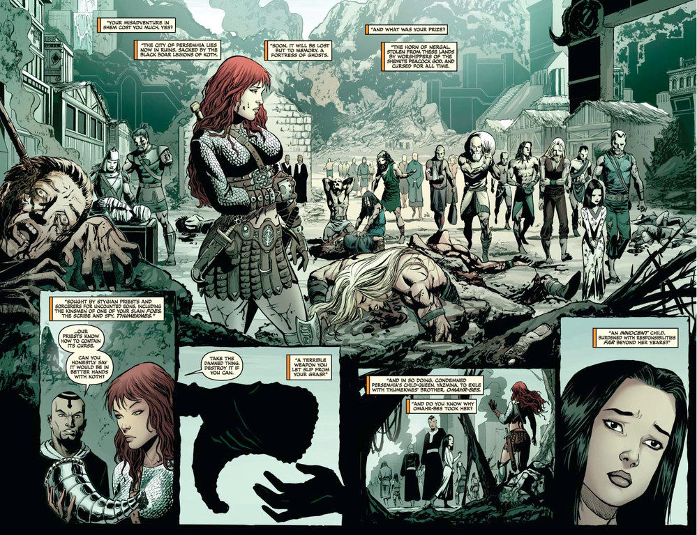 Red Sonja #63 - pages 2-3 (script: Trautmann / art: Geovani)