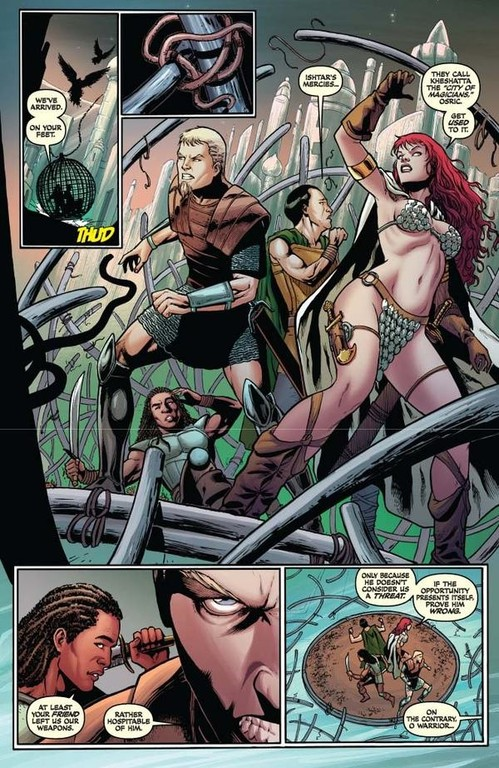 Red Sonja #64 -- page 6 (script: Trautmann / art: Geovani)