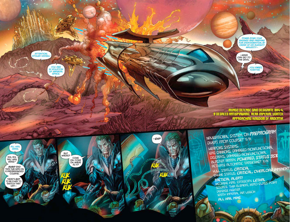 Flash Gordon: Zeitgeist #3 -- pages 2-3 (script: Trautmann / art: Indro)