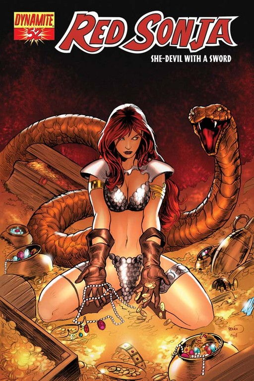Red Sonja #52 cover by Paul Renaud