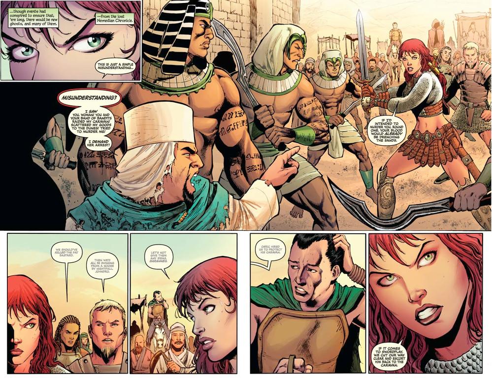 Red Sonja #62 – pages 2-3 (script: Trautmann / Art: Geovani)