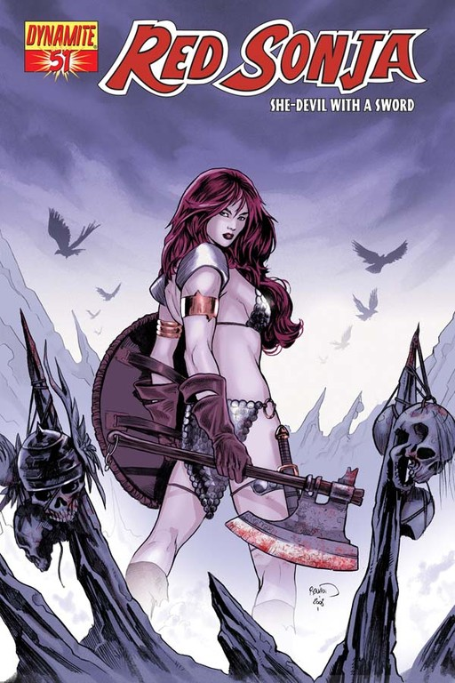 Red Sonja #51 cover by Paul Renaud