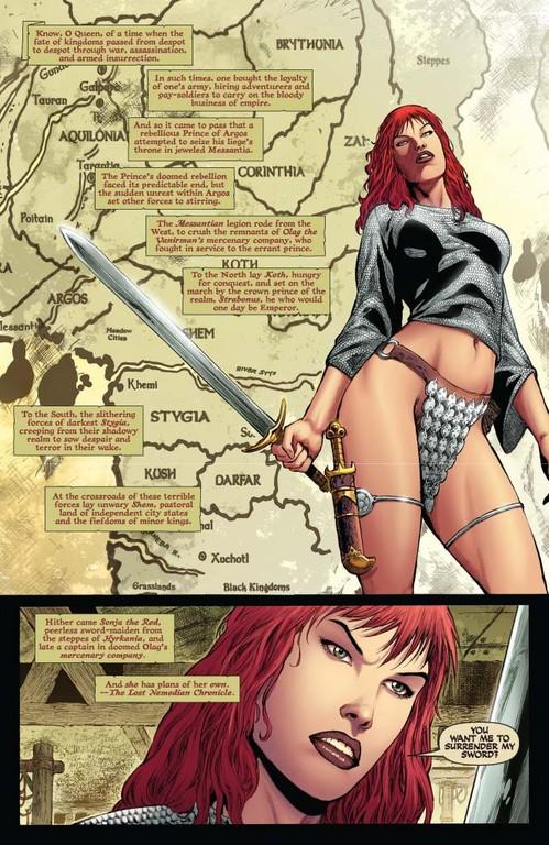 Red Sonja #52 - page 1 (script: Trautmann / art: Geovani)