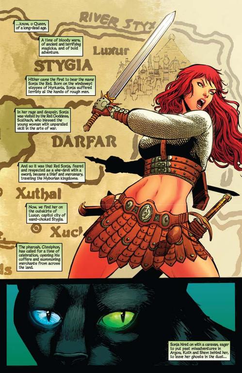 Red Sonja #62 - page 1 (script: Trautmann / art: Geovani)