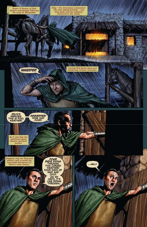 Red Sonja #55 page 1 (w: Trautmann / a: Berkenkotter)