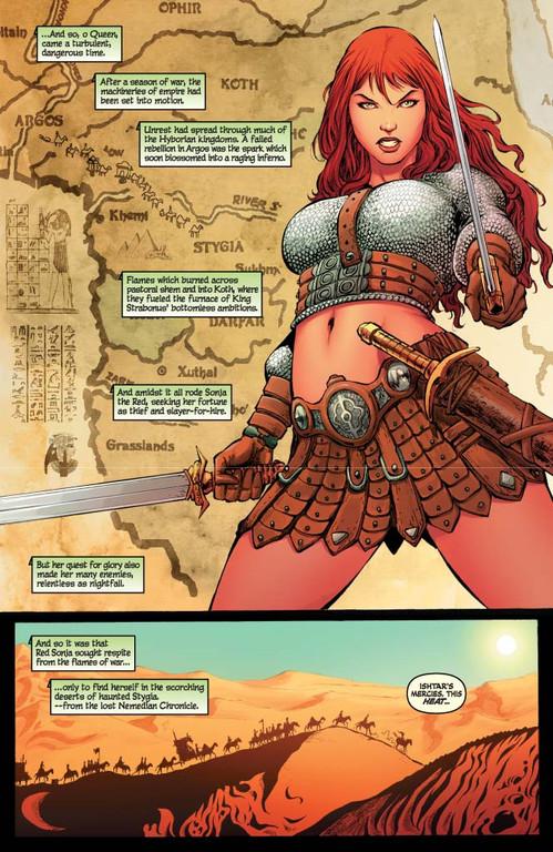 Red Sonja #61 - page 1 (script: Trautmann / art: Geovani)