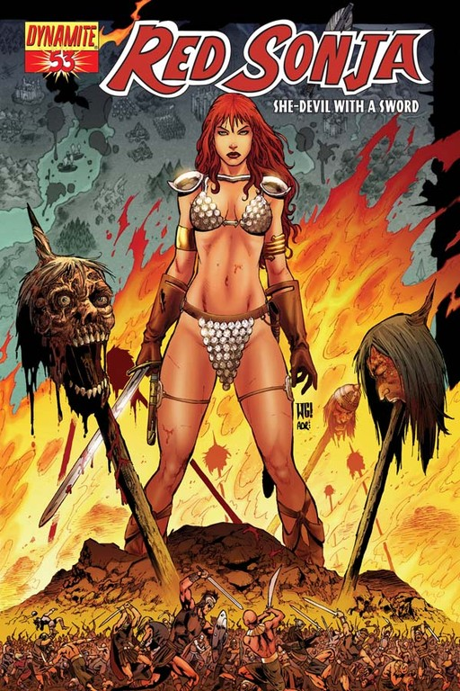 Red Sonja #53 cover by Walter Geovani