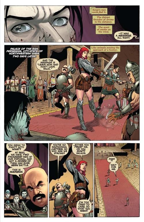 Red Sonja #53 -- page 5 (script: Trautmann / art: Geovani)