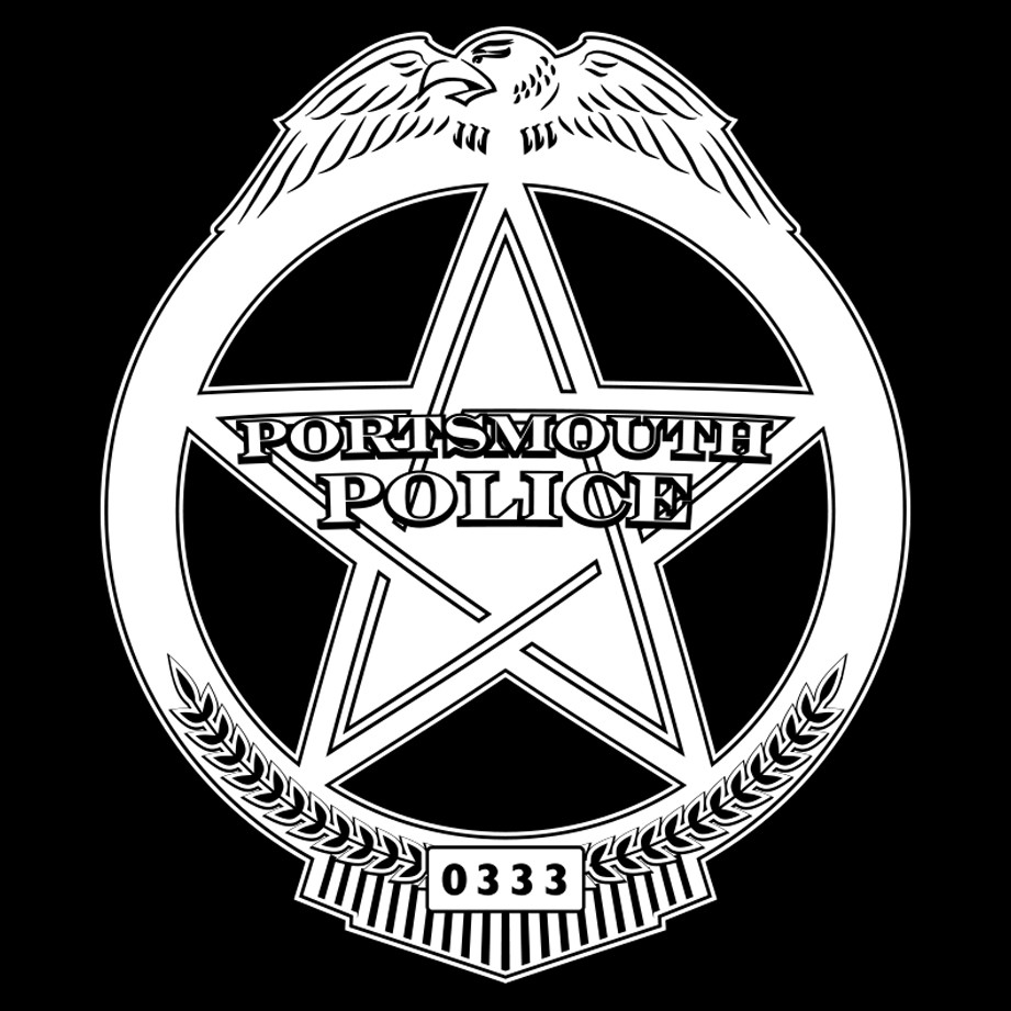 Detail view of the Portsmouth PD badge
