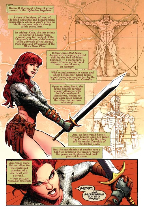 Red Sonja #59 - page 1 (script: Trautmann / art: Berkenkotter)